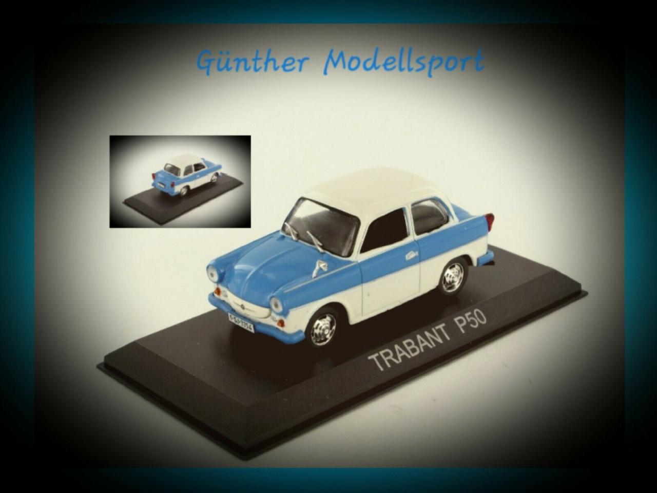 IXO 430913 (Blister) Trabant P50, hellblau/weiß1959