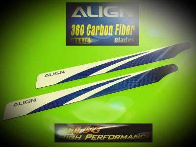 360mm Carbon Hauptrotorblätter, blau für T-REX 450
