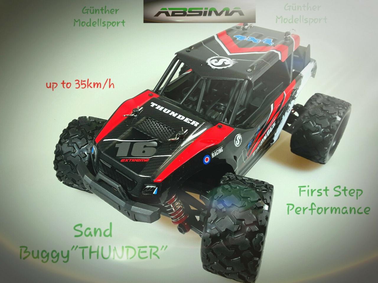 Absima 1:18 Elektro High Speed Sand Buggy THUNDER rot 4WD