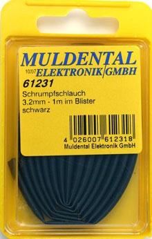 Schrumpfschlauch 6,4mm schwarz Blister