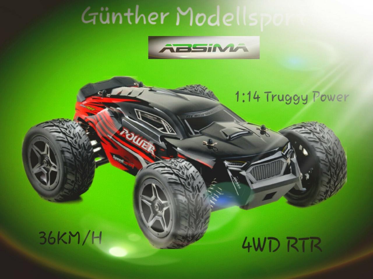 Absima 1:14 EP Truggy POWER schwarz/rot 4WD RTR, 14001
